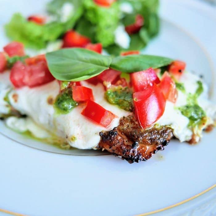 bruschetta chicken on a plate
