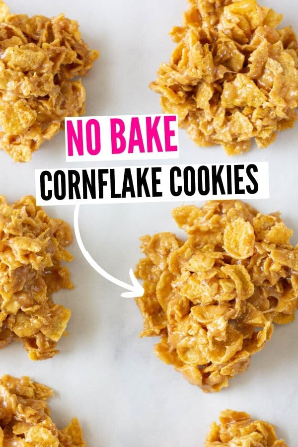 no bake peanut butter cornflake cookies on wax paper on table
