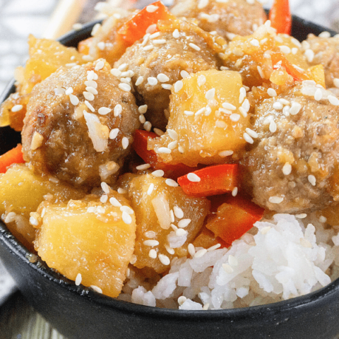 sweet and sour meatballs in a bowl
