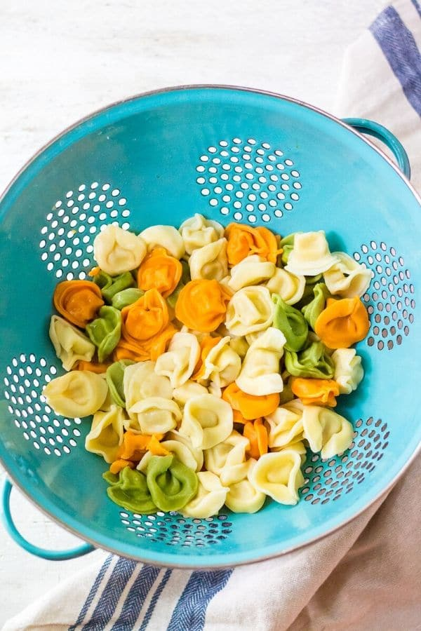 cooked tortellini drained in a colander on table