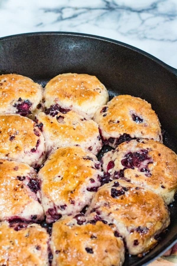 blackberry biscuits in a cast iron skillet