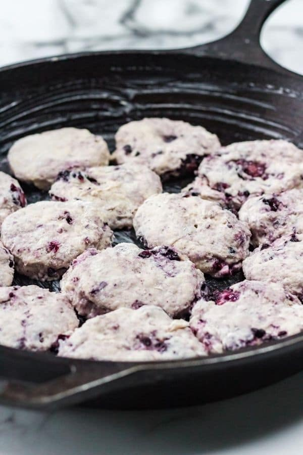 cast iron  blueberry biscuits