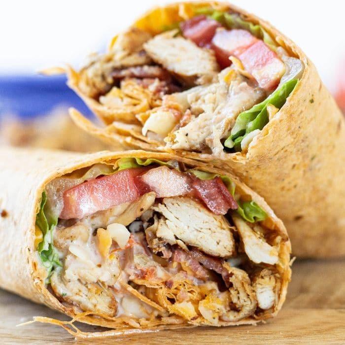 sliced chicken club wrap