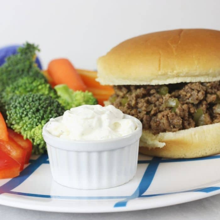 crumble burger on plate with veggies