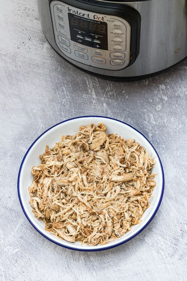 shredded chicken on a plate with Instant Pot behind it