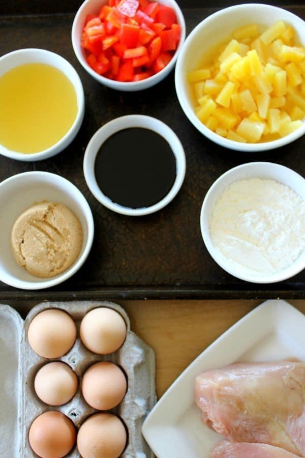 hawaiian chicken ingredients on table