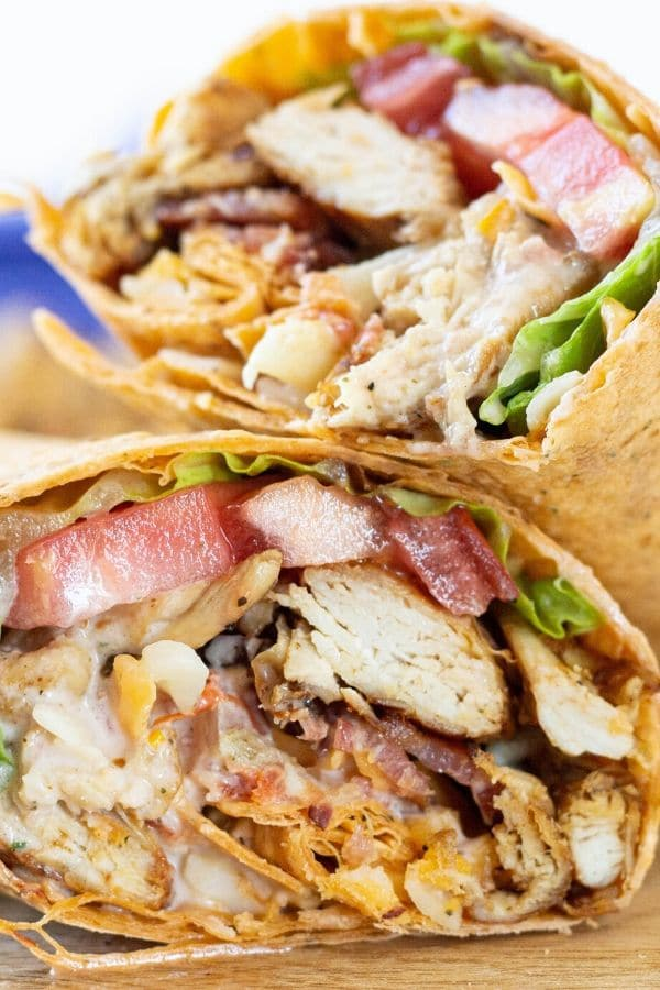 chicken wrap stacked up