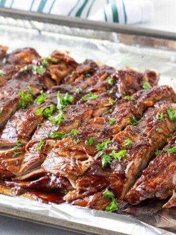 instant pot pork ribs on a pan