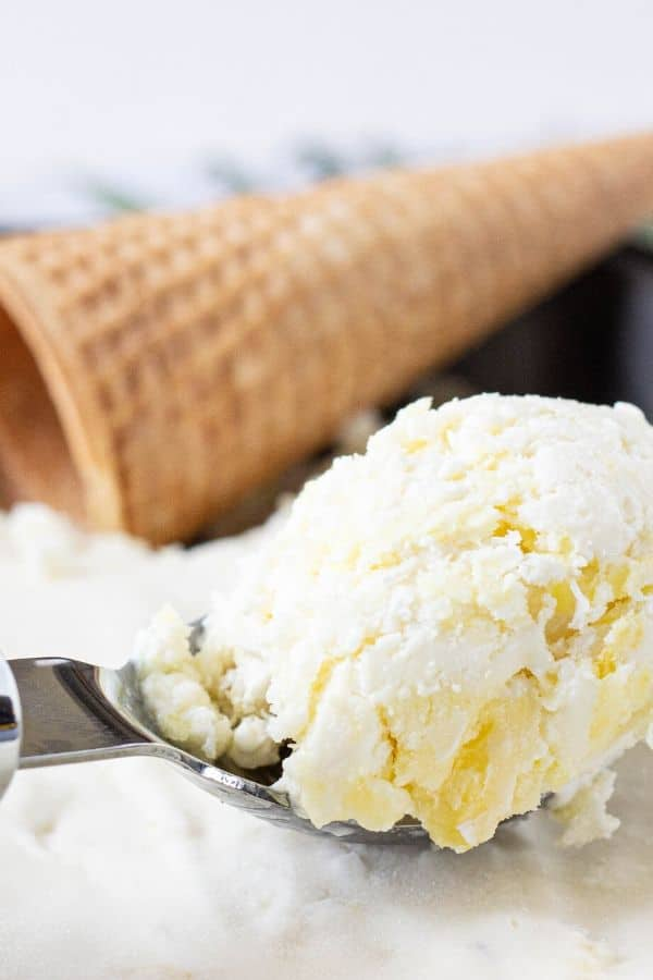 pineapple frozen ice cream in an ice cream scoop