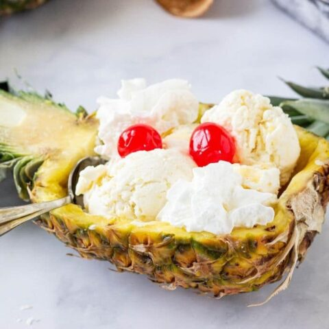 pineapple ice cream in a hollowed out pineapple