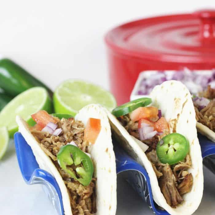 pork carnitas in taco holders