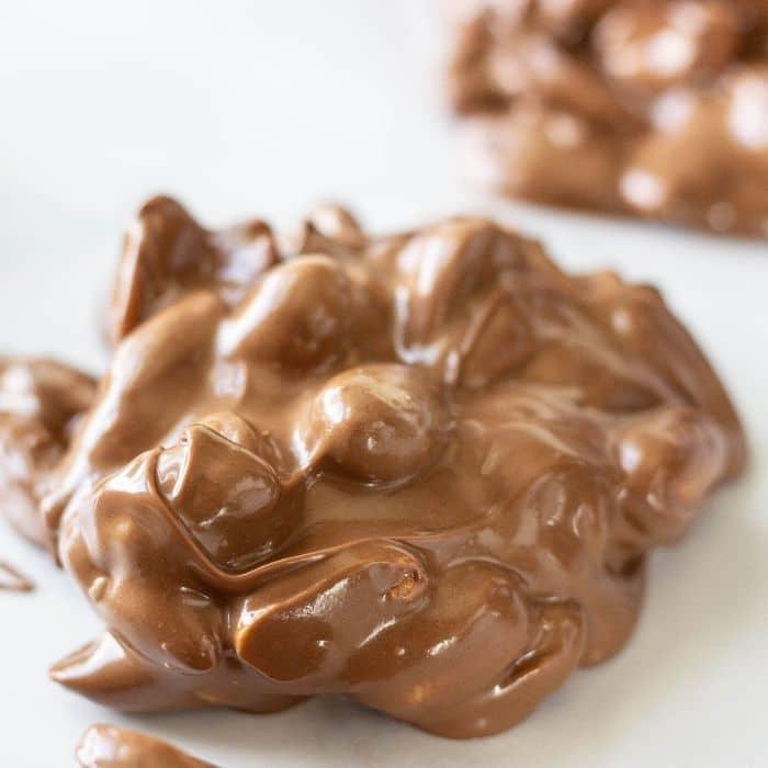 peanut cluster on wax paper