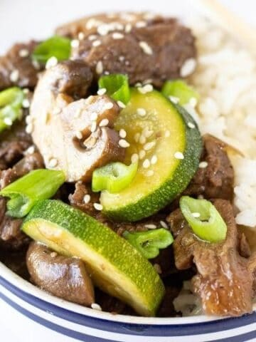 hibachi steak in a bowl with rice