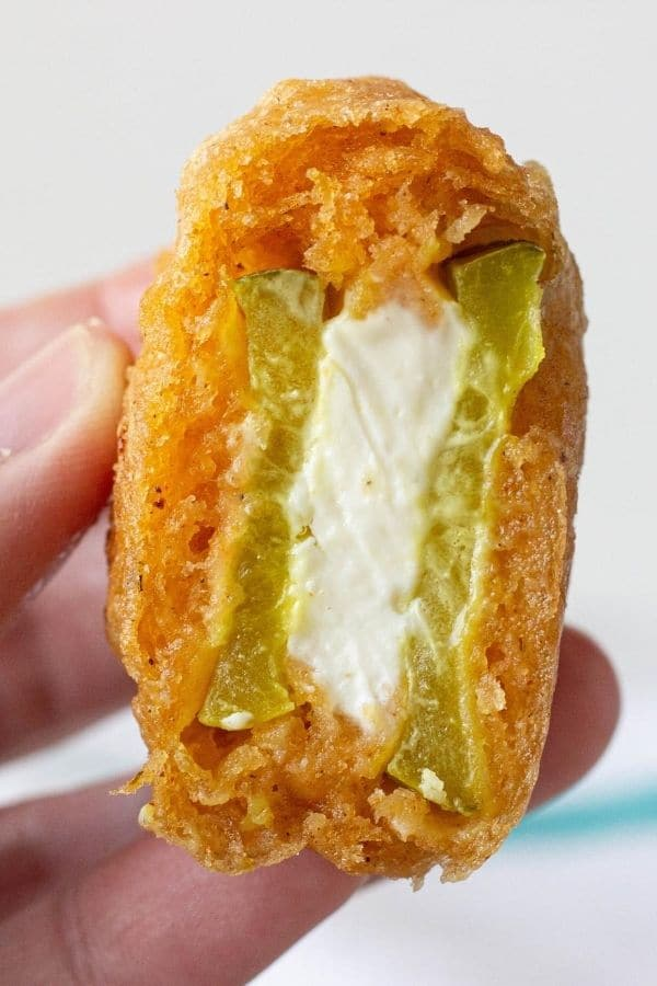 cut open beer battered pickle