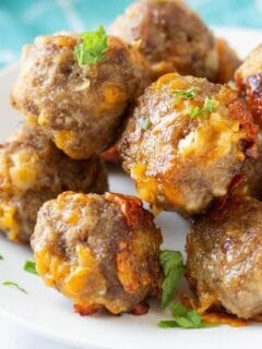 bisquick sausage balls on a plate