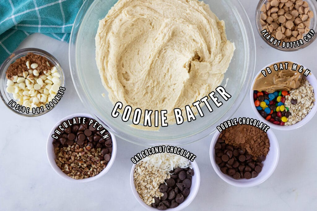 cookie batter with mix-ins by it