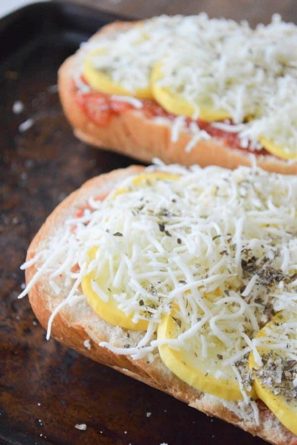 mozzarella cheese topped french bread squash pizza
