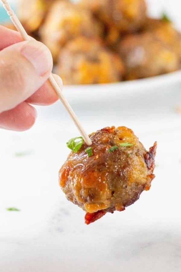 sausage ball on a toothpick