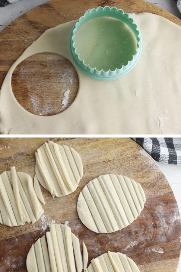 pie crust cut and shaped