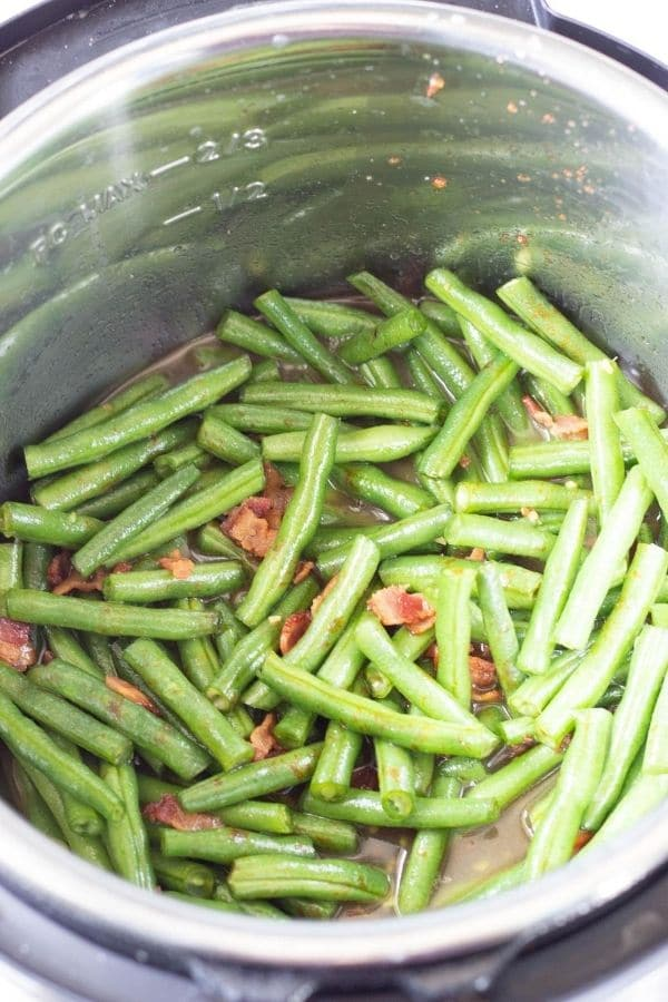 prepped green beans in Instant Pot