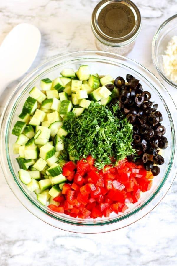 vegetables in a bowl for salad
