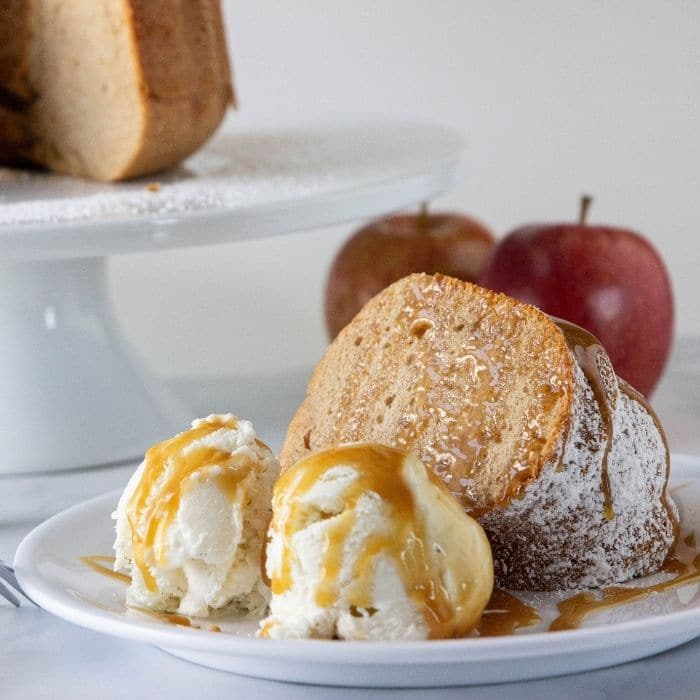 bundt cake with ice cream by it