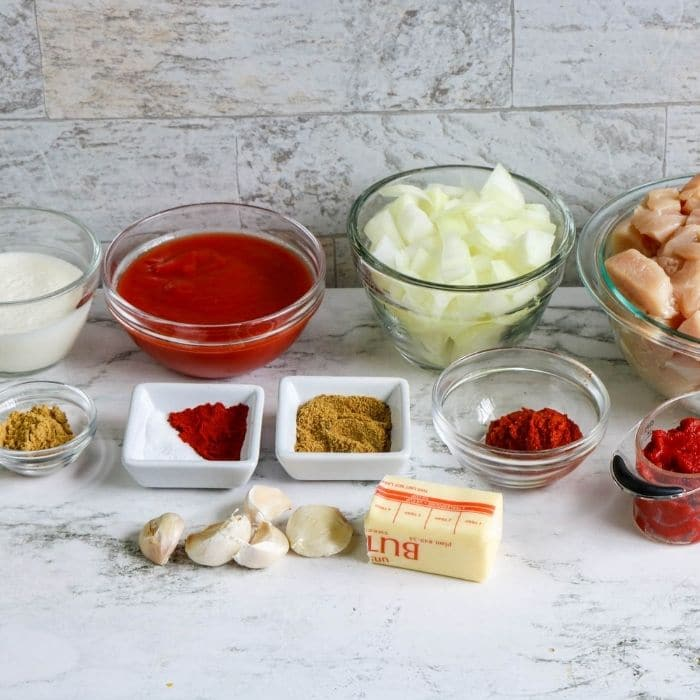 butter chicken ingredients on counter