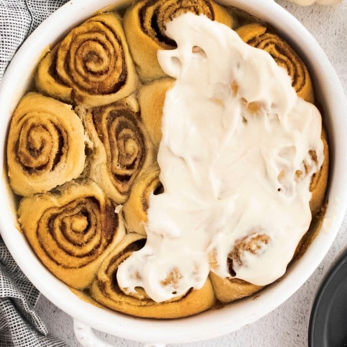 crescent roll cinnamon rolls smothered in frosting