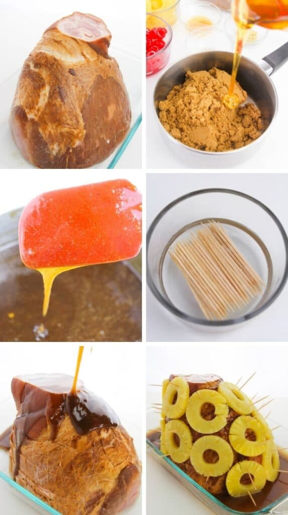 pictures of steps to make brown sugar ham