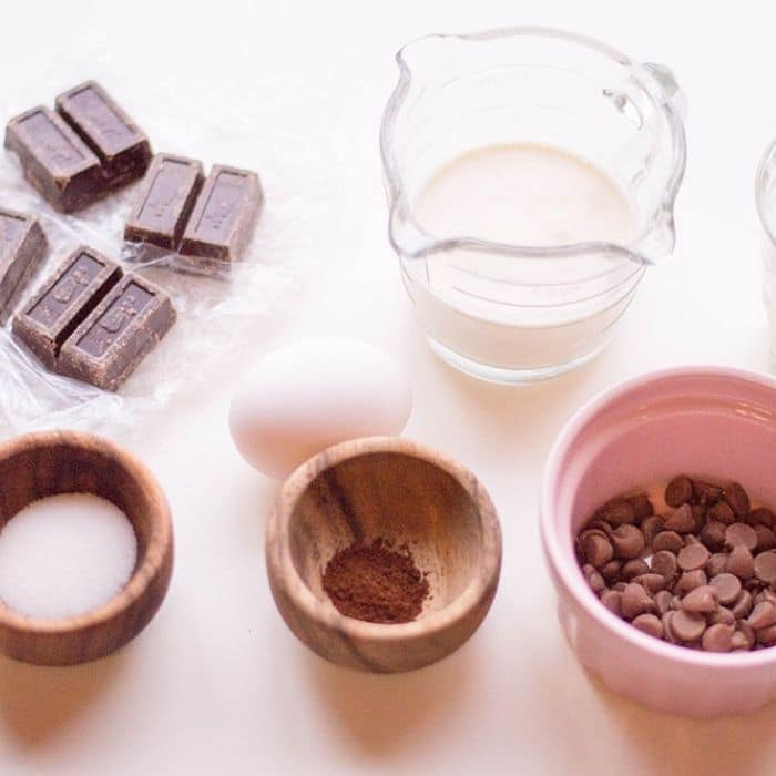 ingredients for chocolate pie on table