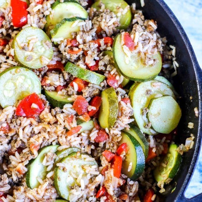 zucchini skillet dish overhead picture
