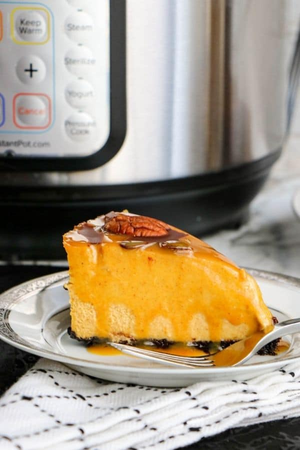 slice of cheesecake on plate with instant pot behind it