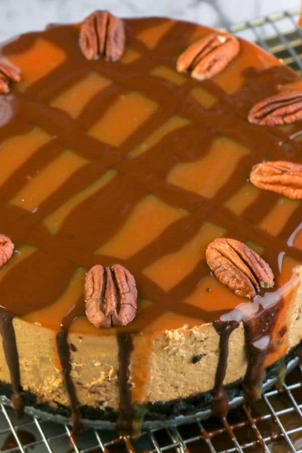 turtle cheesecake on a cooling rack