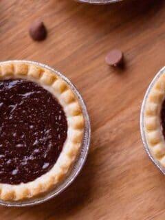 mini chocolate pie on wood table