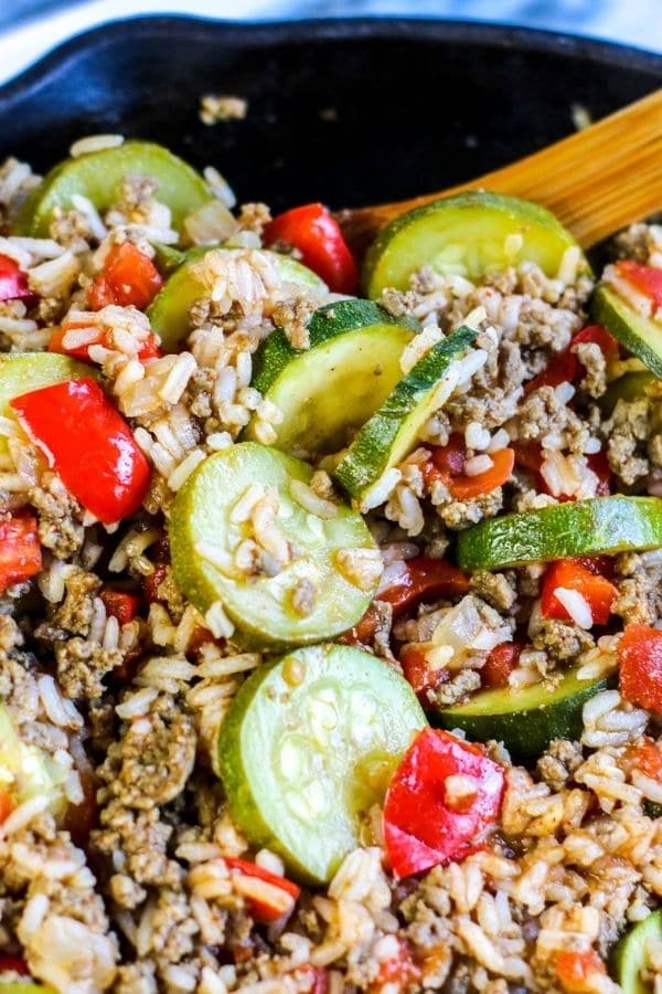 pan full of rice and ground beef cassserole with zucchini