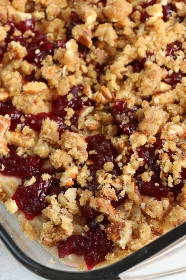 coffee cake cranberry in a pan unbaked