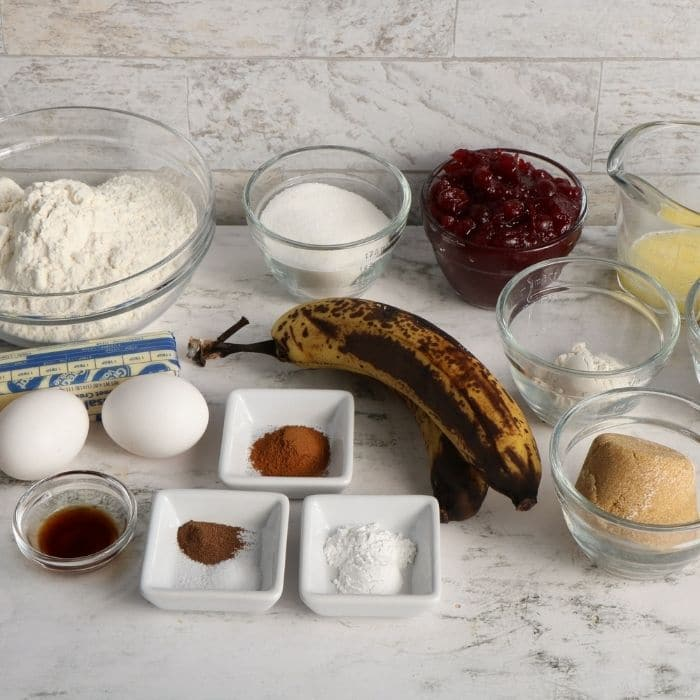 ingredients for cranberry coffee cake on table