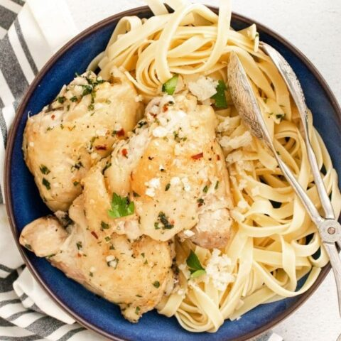 creamy chicken and pasta in a big plate