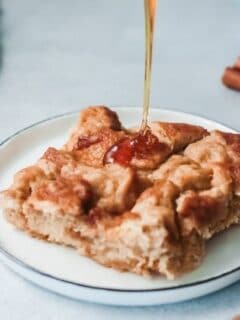 drizzle of maple syrup on french toast bake