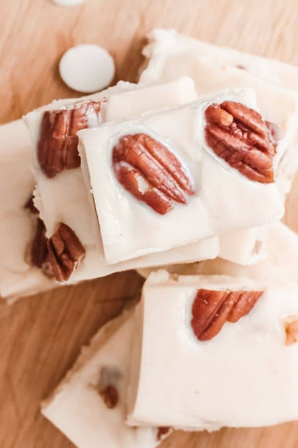 pecan fudge stacked on top of each other overhead view