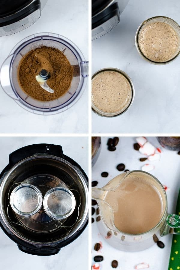 images that show steps to making a homemade coffee creamer in instant pot