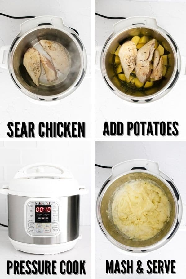 steps to making instant pot chicken and mashed potatoes