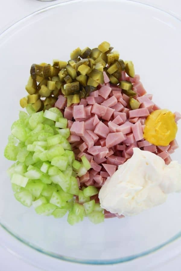 minced ham salad ingredients in a bowl