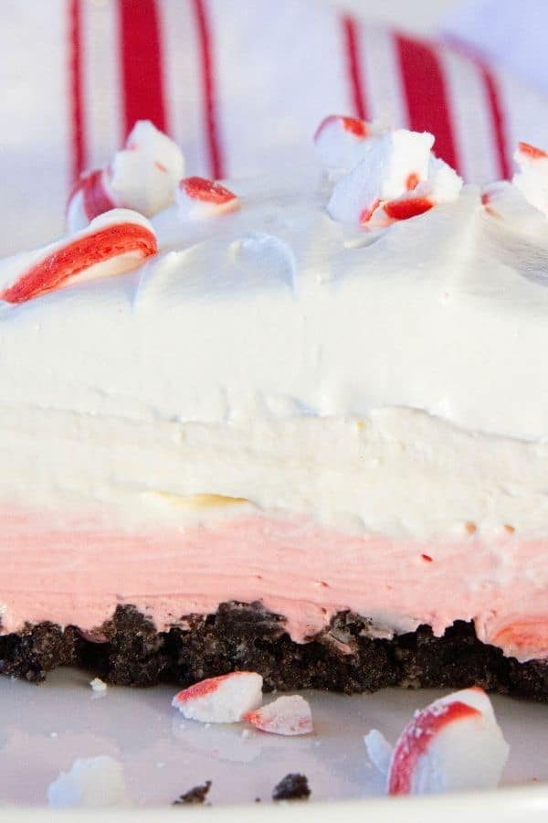 peppermint oreo delight on a plate with peppermint candies on top