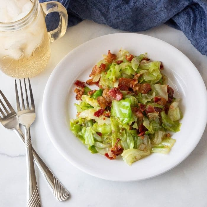 bacon cabbage on plate
