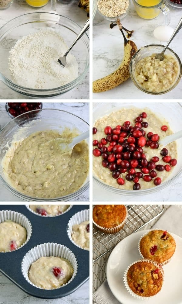 steps on how to make cranberry banana muffins
