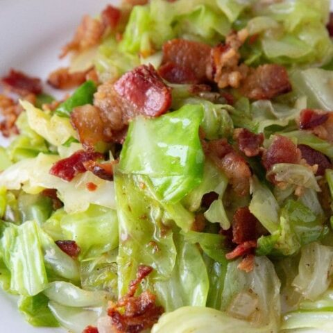 bacon and cabbage on a plate