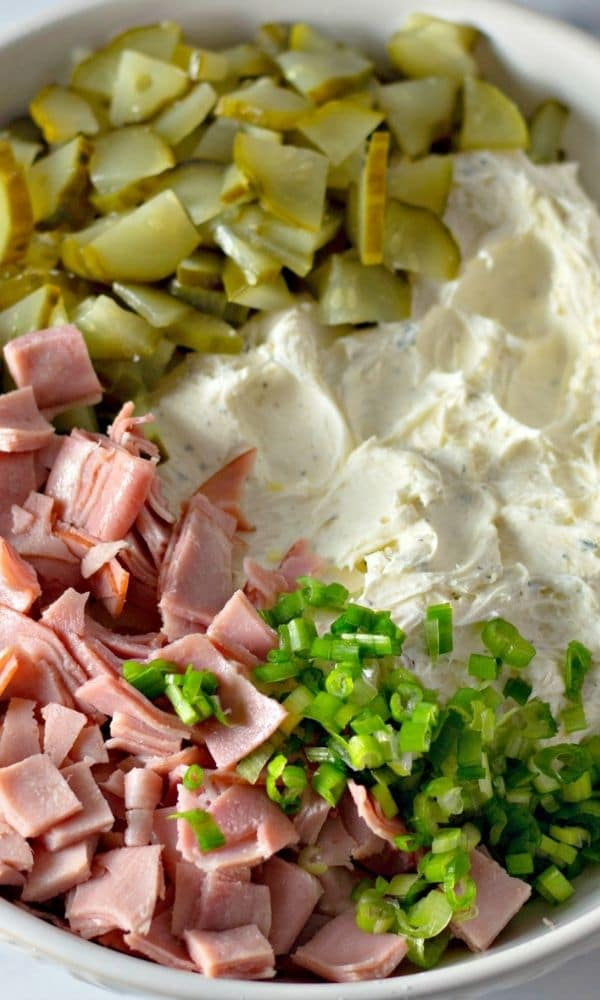 bowl with pickles, cream cheese, ham in bowl