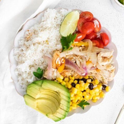 fajita rice bowl on counter