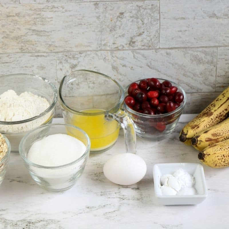 ingredients for cranberry muffins